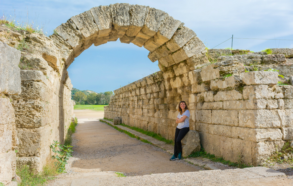 Rocky arch entrance to stadium of ancient Olympia